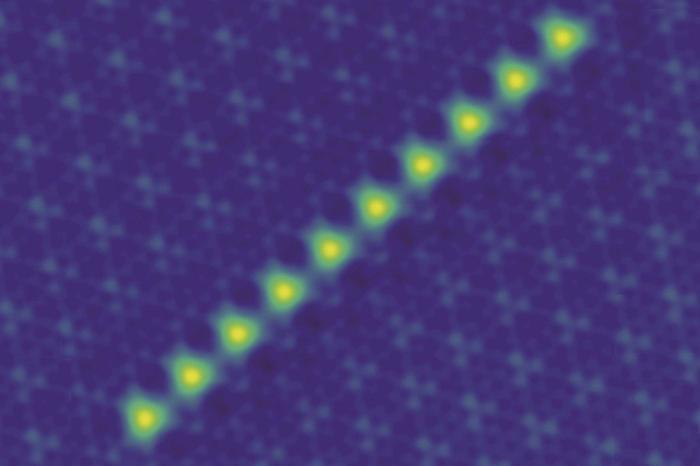 Chain of iron atoms on the superconductor NbSe2 created by manipulating individual atoms using a scanning tunneling microscope